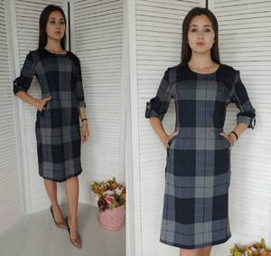 Платье короткое с принтом деловое У9830
