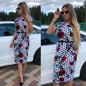 Платье короткое с принтом облегающее Т9299