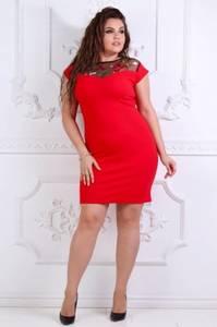 Платье короткое трикотажное красное Т7351