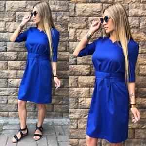 Платье короткое однотонное синее Т6813