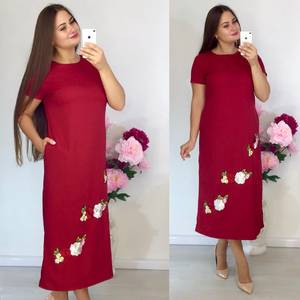 Платье длинное красное с принтом Т9175