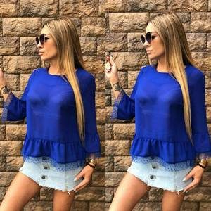 Блуза синяя прозрачная Т6831