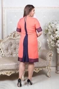 Платье короткое однотонное с кружевом Т6861