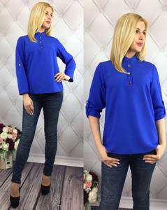 Блуза для офиса синяя У8993