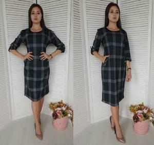 Платье короткое с принтом деловое У9831