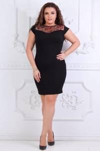 Платье короткое трикотажное черное Т7352