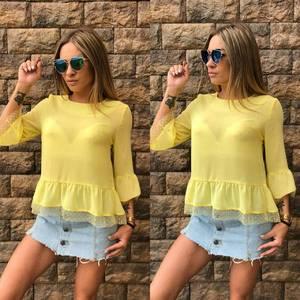 Блуза желтая прозрачная Т6832
