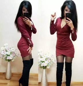 Платье короткое с длинным рукавом облегающее Т9871
