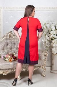 Платье короткое красное с кружевом Т6862