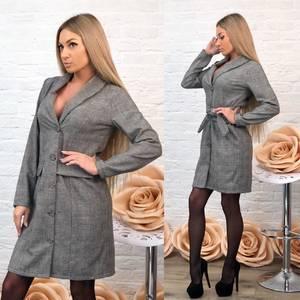 Платье короткое с длинным рукавом классическое Ф7002
