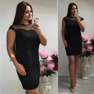 Платье короткое трикотажное черное Т7350