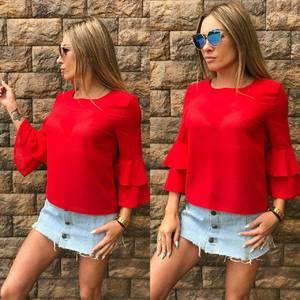 Блуза красная прозрачная Т6833