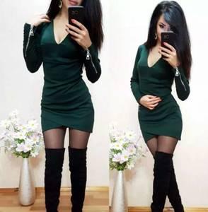 Платье короткое с длинным рукавом облегающее Т9872