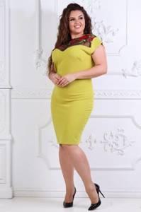 Платье короткое трикотажное желтое Т7353