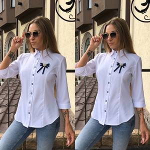 Рубашка однотонная белая Т9223