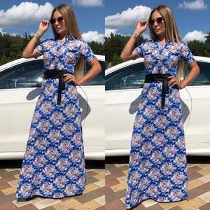Платье длинное классическое с принтом Т9307