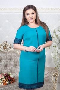 Платье короткое синее с кружевом Т6863