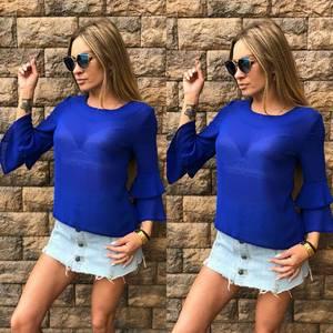Блуза синяя прозрачная Т6835