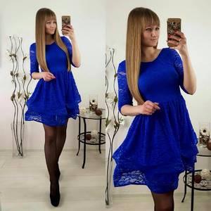 Платье короткое коктейльное синее П3202