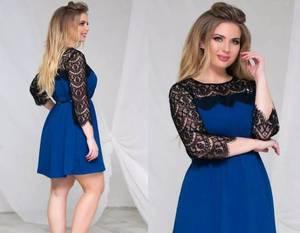 Платье короткое с рукавом 3/4 синее Ф6184
