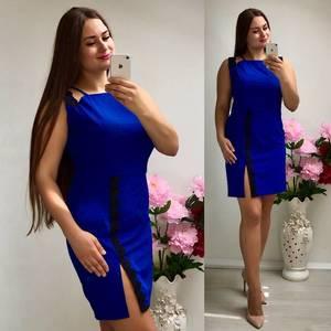Платье короткое трикотажное синее Т7345