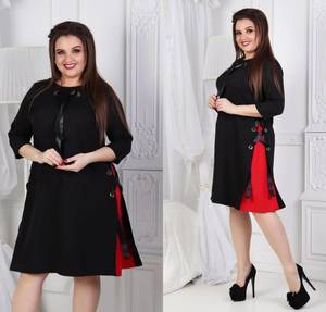Платье короткое нарядное черное Ф1084