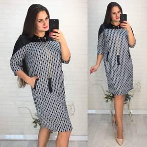 Платье короткое нарядное с принтом Ф3428