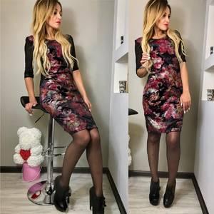 Платье короткое с принтом облегающее Ф5876