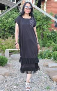 Платье длинное черное повседневное Т9550