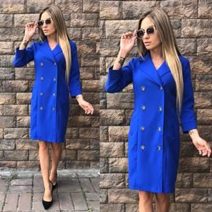 Платье короткое элегантное синее У0297