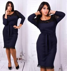 Платье короткое нарядное синее Ф0345