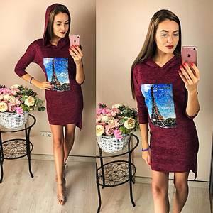 Платье короткое повседневное с принтом Ф2044