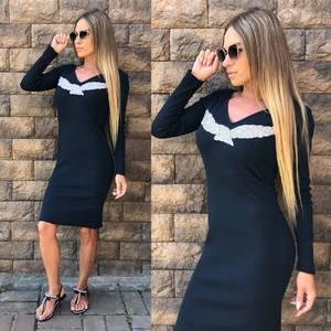 Платье короткое с длинным рукавом облегающее У0306