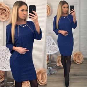Платье короткое нарядное синее Ф5414