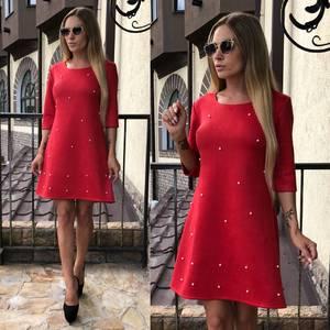 Платье короткое с рукавом 3/4 красное У0307