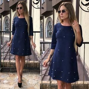 Платье короткое с рукавом 3/4 синее У0308