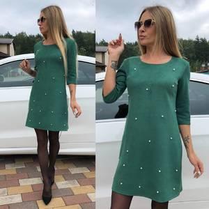Платье короткое с рукавом 3/4 однотонное У0309