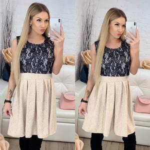 Платье короткое коктейльное с принтом Ф9512
