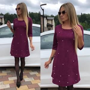 Платье короткое с рукавом 3/4 однотонное У0311