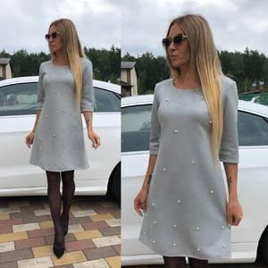 Платье короткое с рукавом 3/4 однотонное У0312