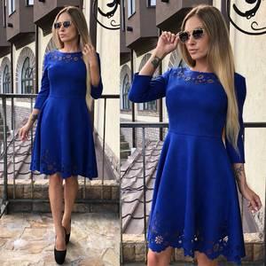 Платье короткое коктейльное синее У0314
