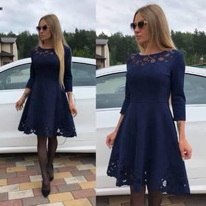 Платье короткое коктейльное однотонное У0315