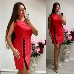 Платье короткое трикотажное красное Т7346
