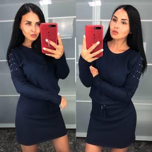 Платье короткое синее теплое Т9426