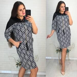 Платье короткое нарядное с принтом Ф3429