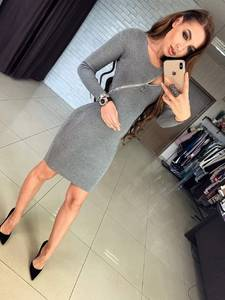 Платье короткое с длинным рукавом облегающее Ф6008