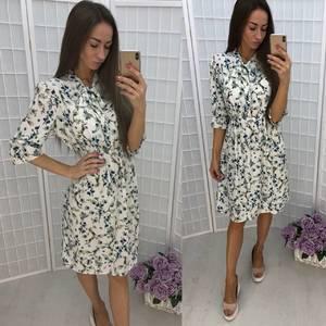 Платье короткое нарядное с принтом Т9940