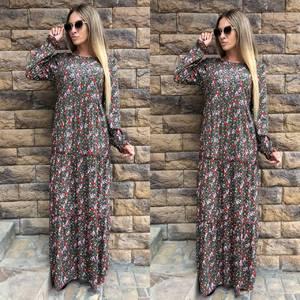 Платье длинное с длинными рукавами с принтом У0414