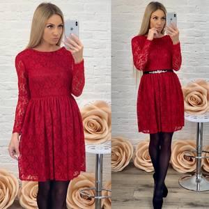 Платье короткое элегантное красное Ф5423
