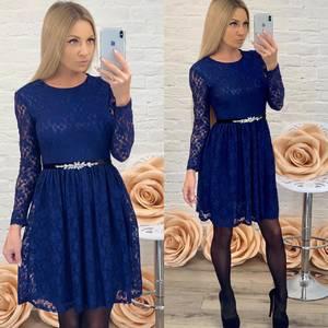 Платье короткое коктейльное синее Ф5422